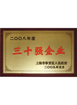 信基2008年度三十强企业证书